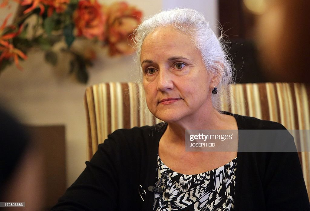 Debra Tice, the mother of Austin Tice, 31, a US journalist who has been missing in Syria since August 2012, speaks to an AFP journalist during an interview in Beirut on July 4, 2013. Debra Tice wakes up each morning hoping her life will have changed and the 11 months since her son Austin disappeared in Syria will turn out to have been a bad dream. But since she and her husband Marc learnt that their 31-year-old first-born had gone missing while reporting in the war-torn country, not a single morning has given her that relief.