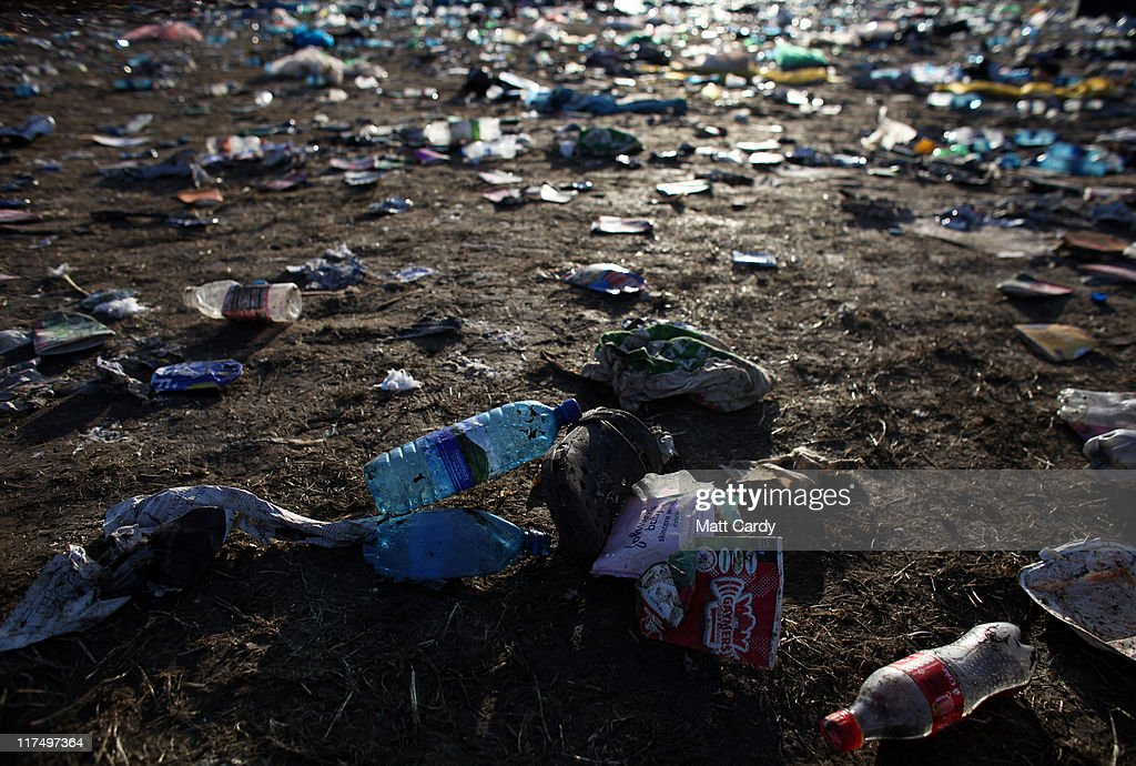 Debris and rubbish litters the Glastonbury Festival site at Worthy Farm, Pilton on June 27, 2011. As the 140,000 plus music fans began to leave this morning the clean up of the 1000s of tonnes of rubbish left by them begins. The festival, which started in 1970 when several hundred hippies paid 1 GBP to watch Marc Bolan, has grown into Europe's largest music festival attracting more than 175,000 people over five days.