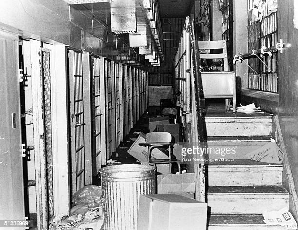 Debris at Baltimore City Jail during the aftermath of a riot Baltimore Maryland March 3 1973