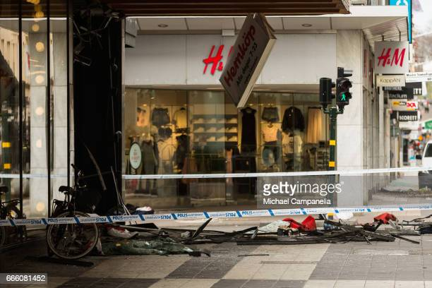Debris at the scene of the terrorist attack where a truck crashed after driving down a pedestrian street in downtown Stockholm on April 8 2017 in...
