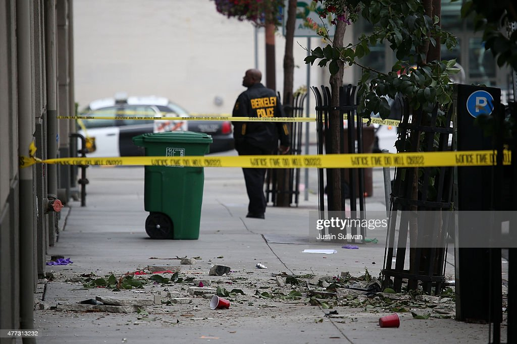 Debris from a balcony collapse remains on the sidewalk in front of an apartment building new UC Berkeley on June 16 2015 in Berkeley California 5...