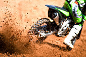 Motocross Biker acellerating during a race