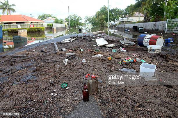 Debris in the street as parts of southern Queensland experiences record flooding in the wake of Tropical Cyclone Oswald on January 30 2013 in...