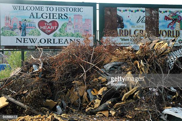 Debris is piled up in the Algiers neighborhood of New Orleans Louisiana Monday September 19 2005 Algiers which is directly across the Mississippi...