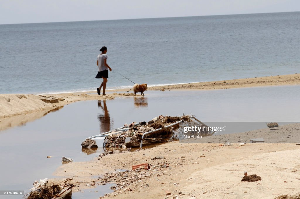Debris is seen after the heavy rain at Toroni, 150 km from Thessaloniki, Greece on July 18, 2017 affected by the torrential rain.