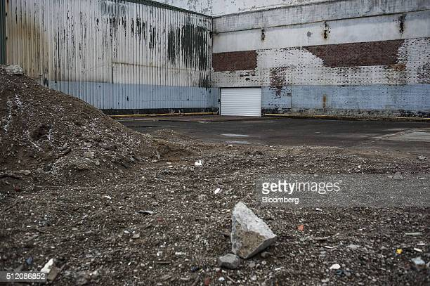 Debris is seen at the former site of the General Motors Co powertrain plant inside the Willow Run airport in Ypsilanti Michigan US on Wednesday Feb 3...