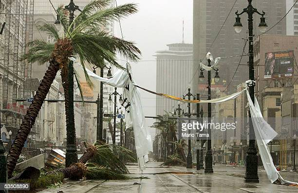 Debris lies on Canal Street in the aftermath of Hurricane Katrina August 29 2005 in New Orleans Louisiana Katrina made landfall just east of the city...