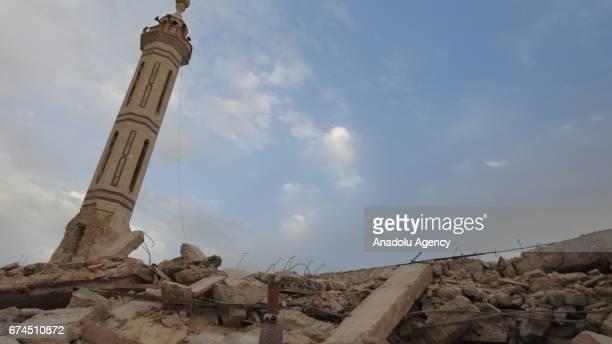 Debris of Abu Ubaidah ibn alJarrah Mosque is seen after Assad regime's airstrike in Kafr Zita town of Hama Syria on April 28 2017