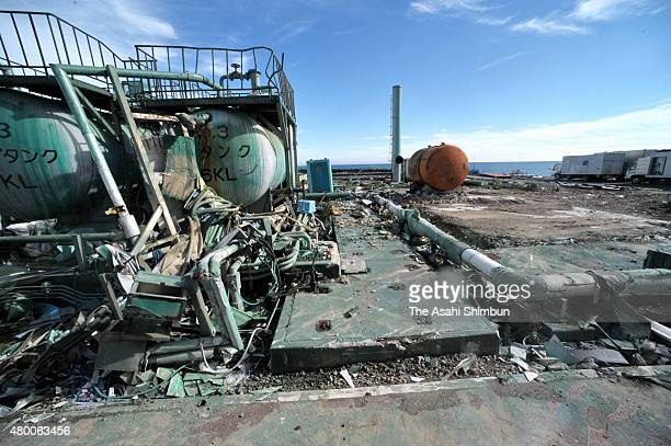Debris of tanks seaside of the Tokyo Electric Power Co's Fukushima Daiichi Nuclear Power Plant on November 12 2011 in Okuma Fukushima Japan