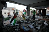Debris of the house which belongs to Palestinian Bessar Masalha who was shot dead by Israeli soldiers after an alleged stabbing attempt is seen after...