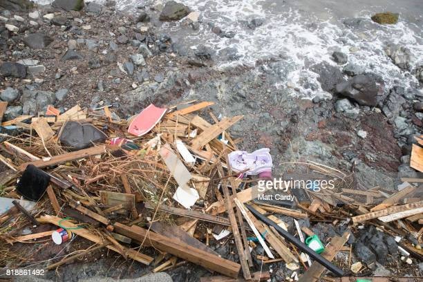 Debris washed down to the sea in the village of Coverack following flash flooding is seen on July 19 2017 in Coverack England A major incident was...