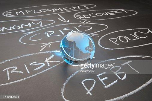 Debt crisis flowchart on a chalkboard