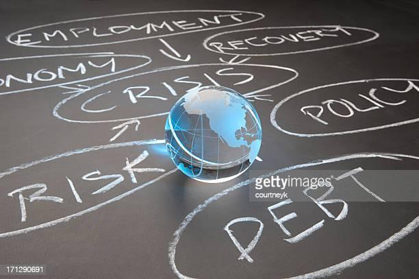 Crisi del debito su un diagramma chalkboard
