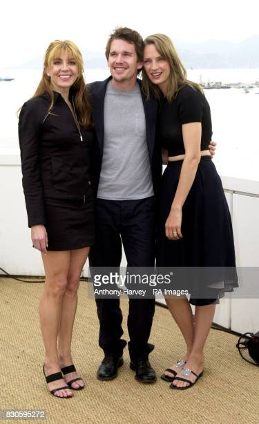 Debut director Ethan Hawke with actresses Natasha Richardson and his wife Uma Thurman on roof of the Noga Hilton Hotel promoting Hawke's new film...