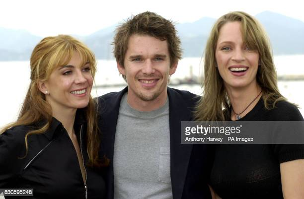 Debut director Ethan Hawke with Hollywood stars Natasha Richardson and his wife Uma Thurman on roof of the Noga Hilton Hotel promoting Hawke's new...