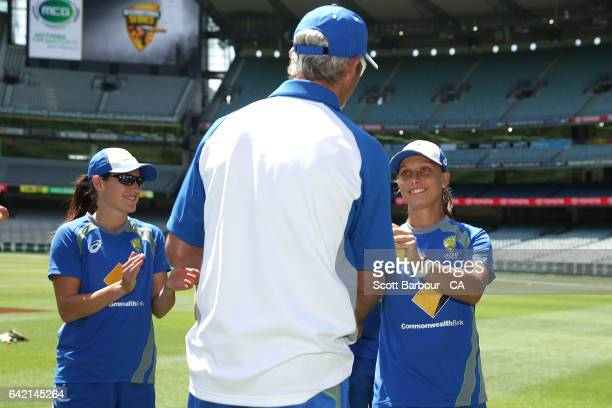 Debutant Ashleigh Gardner of Australia receives her cap from Jason Gillespie during the cap presentation during the first Women's International...