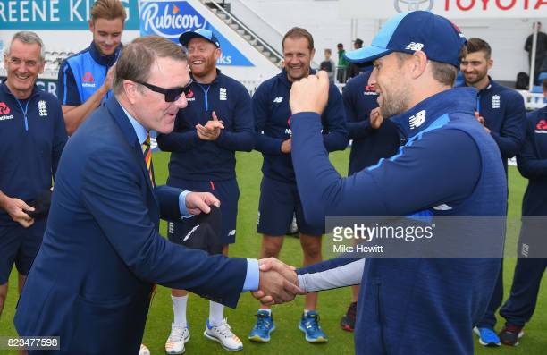 Debutant Dawid Malan of England receives his cap from Phil Tufnell ahead of Day One of the 3rd Investec Test between England and South Africa at The...