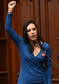 Debutante congress woman Marissa Glave of the leftist Broad Front Party swears in 'by those who fought because never again a woman to be sterilised...