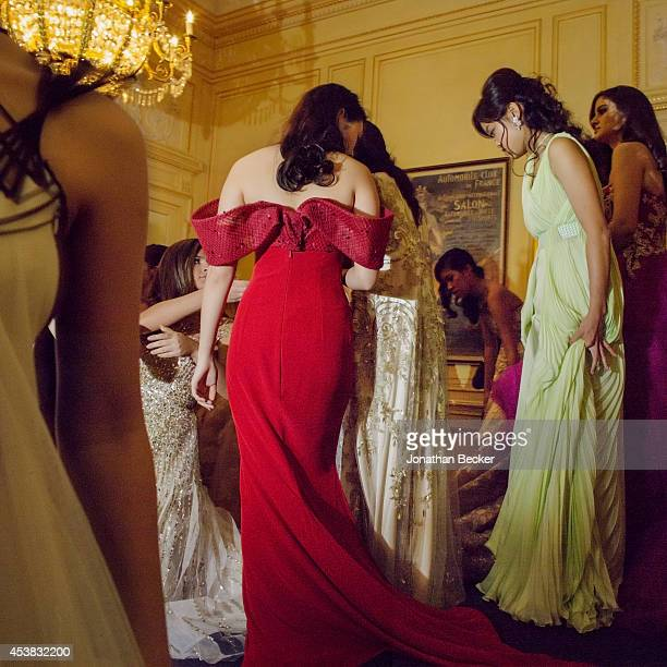 Debutante Rebecca Eu is photographed for Vanity Fair Magazine on November 29 2013 at the Automobile Club de France in Paris France PUBLISHED IMAGE