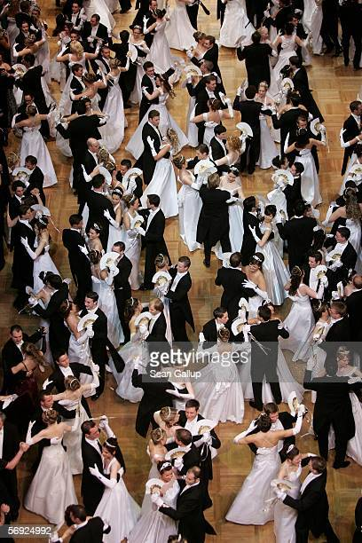 Debutantes dance their first waltz at the 50th Vienna Opera Ball February 23 2006 in Vienna Austria