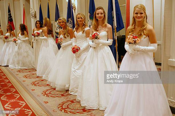 Debutantes greet guests at The 58th International Debutante Ball at The WaldorfAstoria on December 29 2012 in New York City