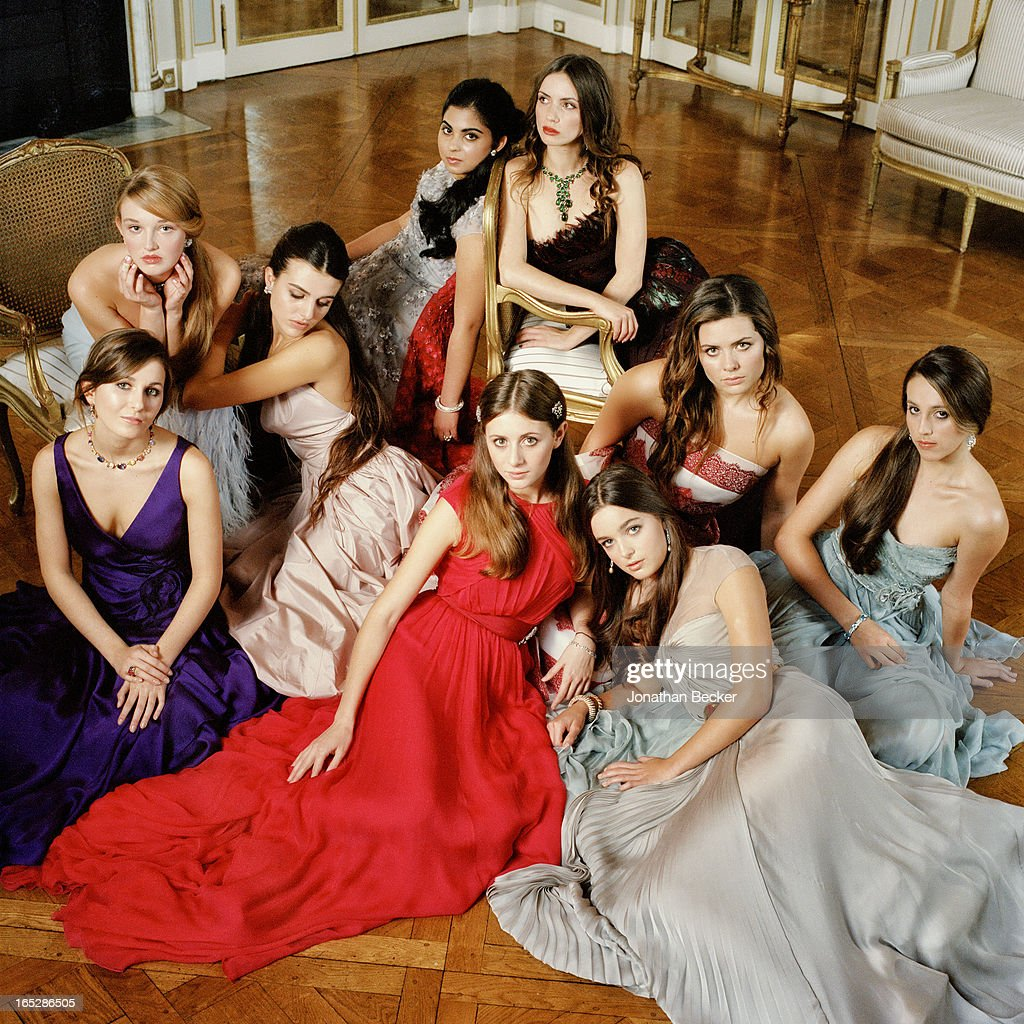 Debutantes (clockwise from bottom left) Lily Rivkin, Talicia Martins, Justine Vilgrain, Isha Ambani, Zoe Bleu Sidel, Bronwen Carter, Sophia Rose Stallone, Celine Buckens and Contessa Filippa Brandolini d?Adda are photographed at the Crillon Debutante Ball for Vanity Fair Magazine on November 22, 2012 in Paris, France. PUBLISHED