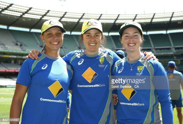 MELBOURNE AUSTRALIA FEBRUARY Debutants AmandaJade Wellington Molly Strano and Ashleigh Gardner of Australia pose after their cap presentation during...
