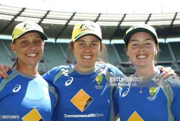 Debutants AmandaJade Wellington Molly Strano and Ashleigh Gardner of Australia pose after their cap presentation during the first Women's...