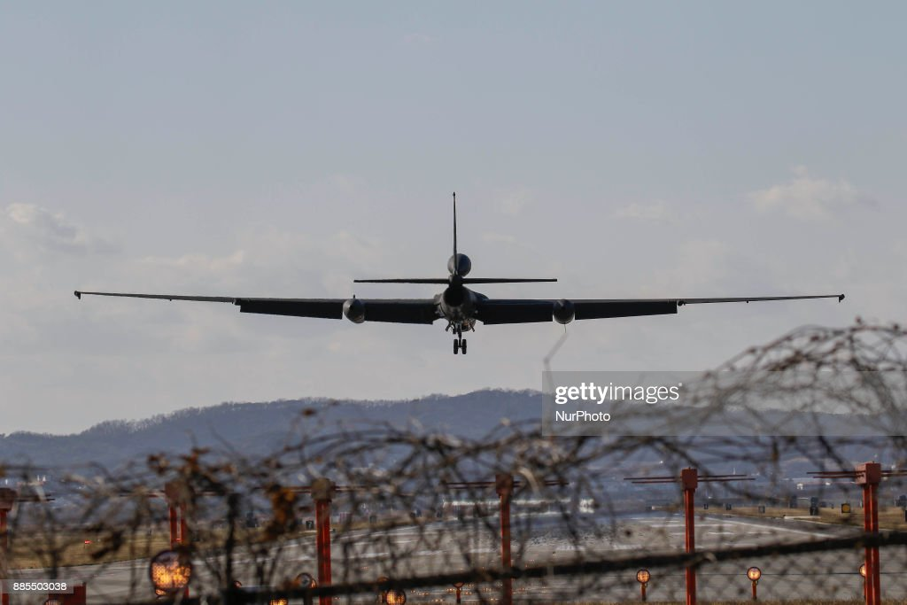 Dec 04, 2017-Osan, South Korea-United States Airforce U2-S landing on the runway at Osan Military Airbase in Pyeongtaek, South Korea. South Korea and the United States launched their largest-ever joint aerial drills on Monday, officials said, a week after North Korea said it had tested its most advanced missile as part of a weapons program that has raised global tensions.