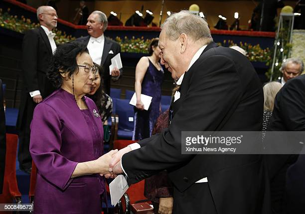 STOCKHOLM Dec 10 2015 2015's Nobel laureate in Physiology or Medicine Tu Youyou left is congratulated following the Nobel Prize award ceremony at the...