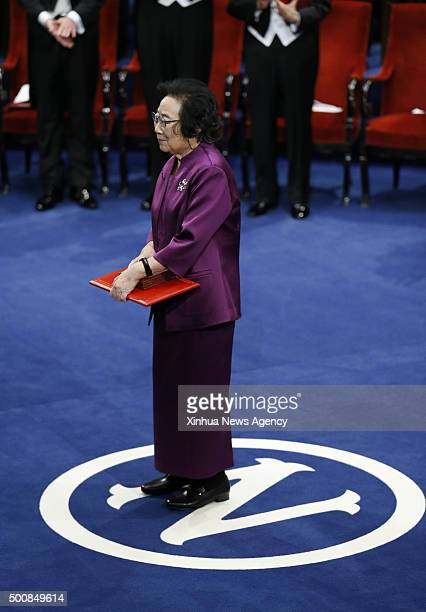 STOCKHOLM Dec 10 2015 2015's Nobel laureate in Physiology or Medicine Tu Youyou stands on stage during the Nobel Prize award ceremony at the Concert...