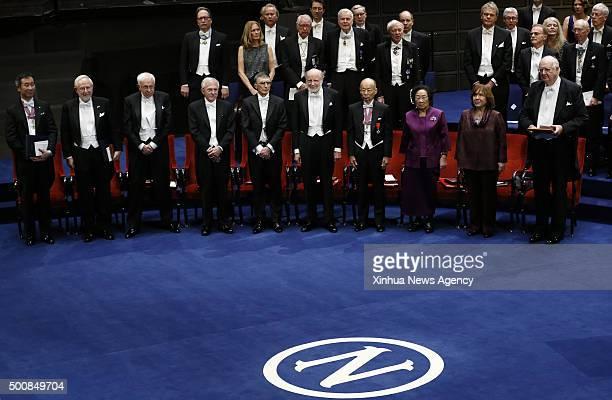 STOCKHOLM Dec 10 2015 The 2015's Nobel laureates front row left to right Takaaki Kajita and Arthur B McDonald in Physics Tomas Lindahl Paul Modrich...