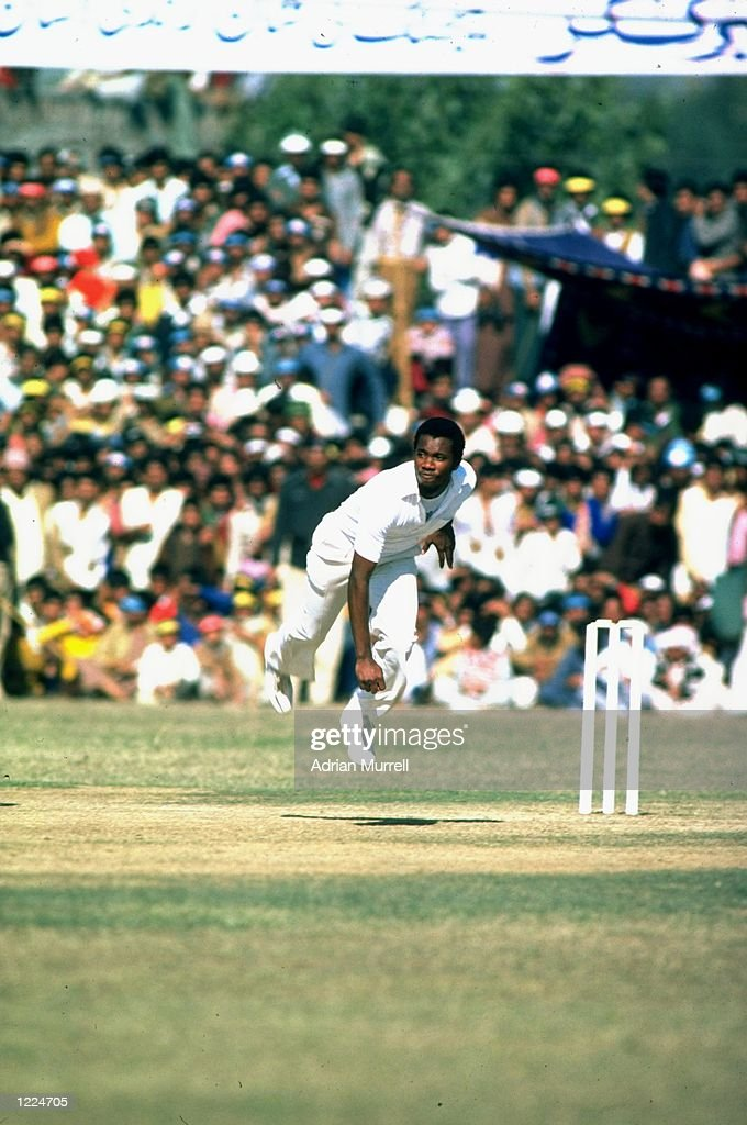 Malcolm Marshall of the West Indies in action during the Second Test match against Pakistan at the Iqbal Stadium in Faisalabad Pakistan West Indies...