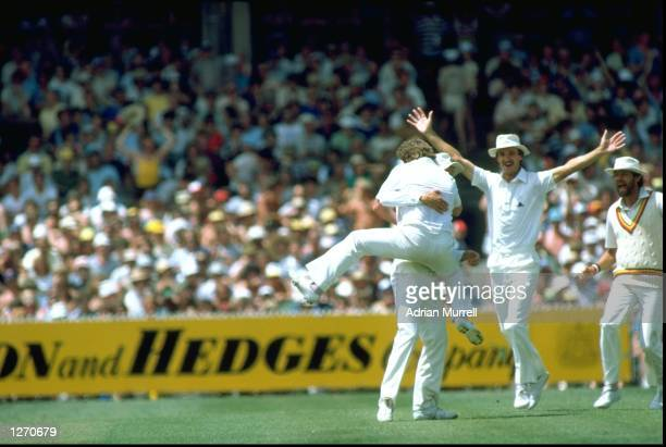 Ian Gould of England catches Greg Chappell of Australia off Norman Cowans also of England during the Fourth Ashes Test match at the Melbourne Cricket...
