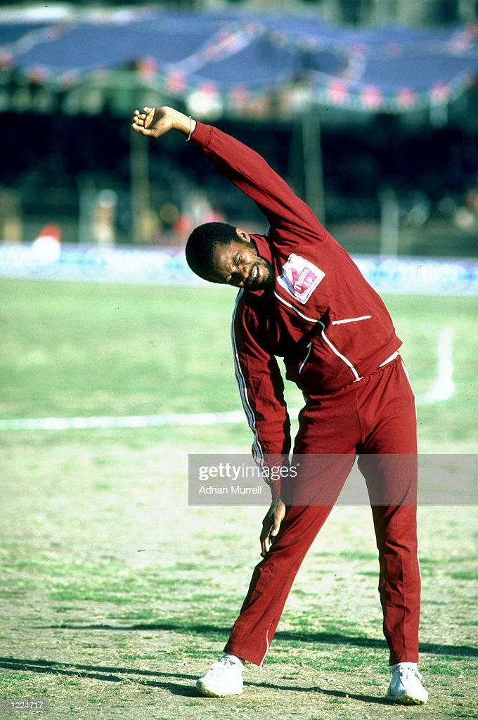 Malcolm Marshall of the West Indies does exercises at a cricket ground Mandatory Credit Adrian Murrell/Allsport