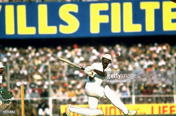 West Indies Captain Clive Lloyd in action during his century innings in the Fifth Test match against India at Eden Gardens in Calcutta India West...