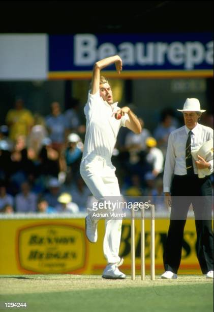 Bruce Reid of Australia bowls during the Second Ashes Test match against England at the WACA Ground in Perth Australia The match ended in a draw...