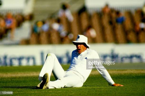 Chris Broad of England relaxes during the Third Ashes Test match against Australia at the Adelaide Oval in Australia The match ended in a draw...