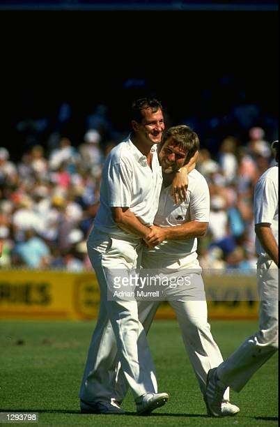 John Emburey and Mike Gatting of England celebrate victory after the Fourth Ashes Test match against Australia at the Melbourne Cricket Ground in...