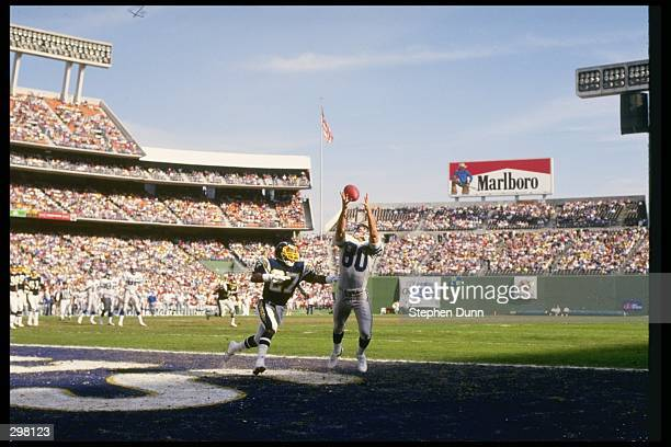 Wide receiver Steve Largent of the Seattle Seahawks catches the ball during a game against the San Diego Chargers at Jack Murphy Stadium in San Diego...