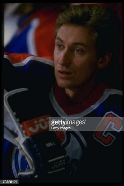 Center Wayne Gretzky of the Edmonton Oilers looks on during a game against the Los Angeles Kings at the Forum in Inglewood California Mandatory...