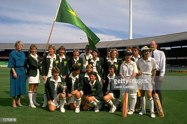 A group photograph of the Australian team with the Trophy after their victory in the Womens World Cup final against England at Melbourne Cricket...