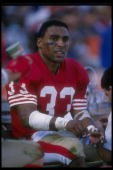 Running back Roger Craig of the San Francisco 49ers looks on during a game against the New Orleans Saints at Candlestick Park in San Francisco...
