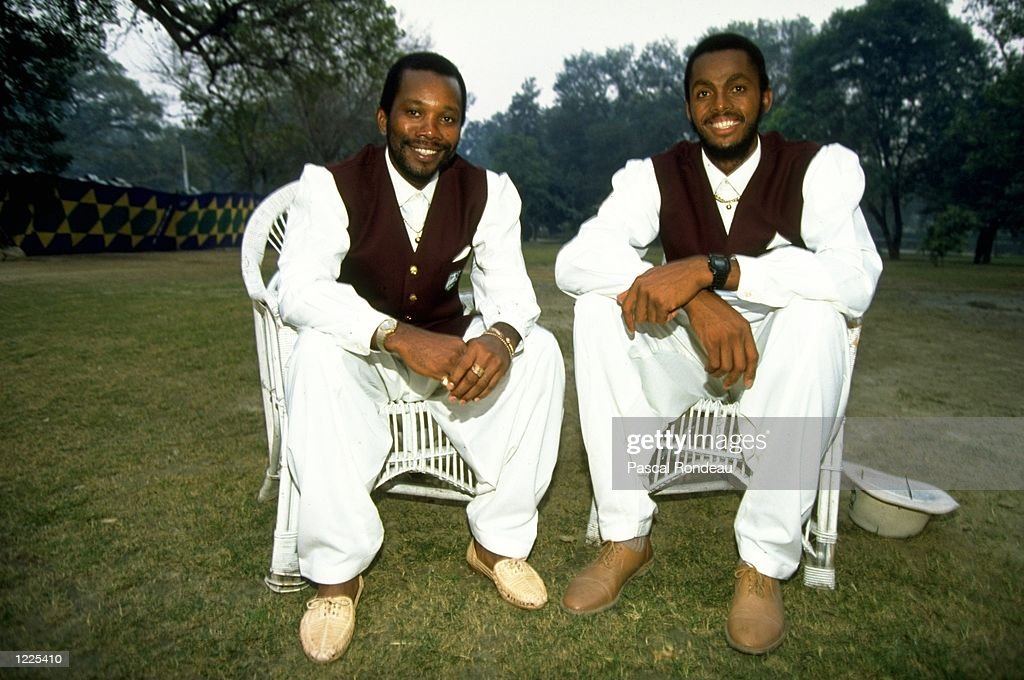 Malcolm Marshall and Courtney Walsh of the West Indies pose for photographers dressed in traditional Pakistani dress before the Third Test match...