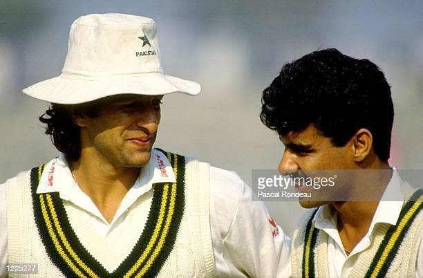 Portrait of Pakistan fast bowlers Wasim Akram and Waqar Younis during the Third Test match against the West Indies at Gaddafi Stadium in Lahore...