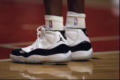 A closeup shot of Air Jordans as they appear on the court during the game between the New York Knicks and the Chicago Bulls at the United Center in...