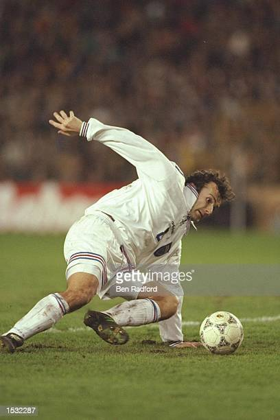 Dejan Savicevic of Yugoslavia in action during the World cup qualifier between Spain and Yugoslavia in Valencia Spain Spain won the match 20...
