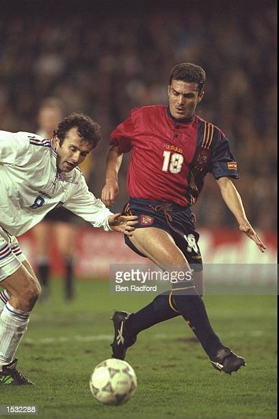 Dejan Savicevic of Yugoslavia is challenged by Amor of Spain during the World cup qualifier between Spain and Yugoslavia in Valencia Spain Spain won...