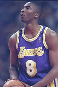 Guard Kobe Bryant of the Los Angeles Lakers stands at the foul line during a game against the Chicago Bulls at the United Center in Chicago Illinios...