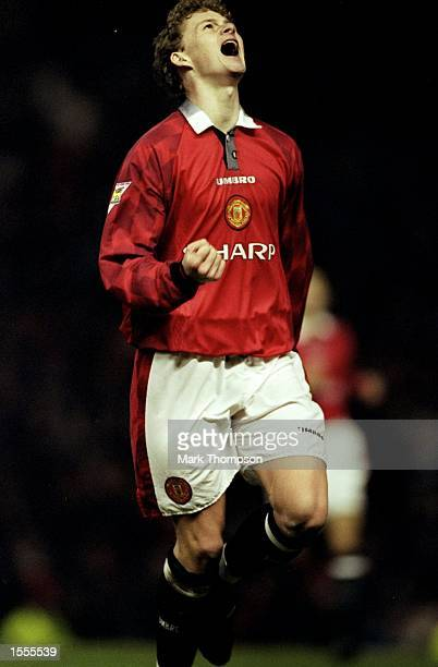 Ole Gunnar Solskjaer of Manchester United celebrates during an FA Carling Premiership match against Sunderland at Old Trafford in Manchester England...
